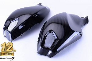 Ducati Monster 696 796 1100 100% Carbon Fiber Side Tank Covers, Twill Weave